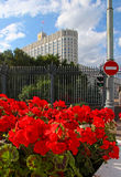 The Russian Government, a sign passage forbidden and red flowers Royalty Free Stock Image