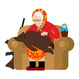 Russian Grandmother and bear are your pets. old woman  Stock Images