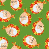 Russian Grandmother pattern. Old woman face in Russia ornament. Crone seamless texture. gammer with glasses and National Cap Shawl Royalty Free Stock Photo