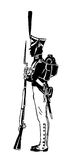 Russian guardsman. Silhouette of a Russian guard with a gun. In 1812 Royalty Free Stock Image