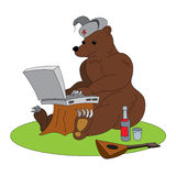 Russian hacker humorous illustration - angry brown bear with laptop Stock Photography