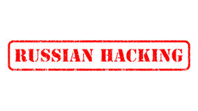 RUSSIAN HACKING  rubber stamp over a white background Stock Photo