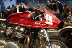 Russian Handbuilt Cup 2018. Custom motorcycle FAST RASER. Front fairing with name and number Royalty Free Stock Image