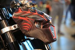 Russian Handbuilt Cup 2018. Custom motorcycle RELEASE OF DEMON.  Styled fairing of the headlights, side view close-up Royalty Free Stock Images