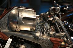 Russian Handbuilt Cup 2018. Custom motorcycle REVOLVER. Close-up view of fuel tank Stock Photo