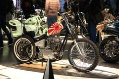 Russian Handbuilt Cup 2018. Custom motorcycle YAMAHA XC650. Look at right side. Time of the International motorcycle industry salon IMIS2018. Lenexpo. Saint stock photo