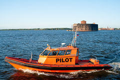 Russian harbor pilot boat in Saint Petersburg Royalty Free Stock Photo