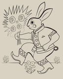 Russian hare. Hare in Russian dress and boots gives flowers Royalty Free Stock Images
