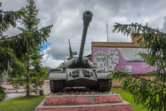 Russian heavy tank of the Second World War on the pedestal royalty free stock photos
