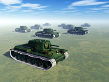 Russian Heavy Tanks of World War II. Computer generated 3D illustration with Russian Heavy Tanks of World War II Royalty Free Stock Photography