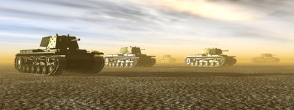 Russian Heavy Tanks of World War II. Computer generated 3D illustration with Russian Heavy Tanks of World War II Stock Photos