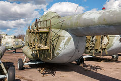 The russian heavy transport helicopter  an abandoned aerodrome. Royalty Free Stock Images