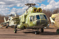 The russian heavy transport helicopter an abandoned aerodrome. Stock Images