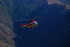 Russian helicopter in the Altai mountains Stock Images