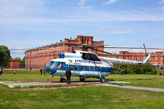 Russian helicopter in Saint-Petersburg, Russia. SAINT-PETERSBURG - May 29: Sightseeing helicopter for flights over city an at the Peter and Paul Fortress on May Royalty Free Stock Photo