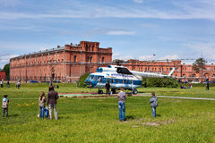Russian helicopter in Saint-Petersburg, Russia. SAINT-PETERSBURG - May 29: Sightseeing helicopter for flights over city an at the Peter and Paul Fortress on May Stock Photo
