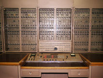 Russian Historical electronic computer. Vacuum tube based early Russian electronic computer with switches for programing and no keyboard Royalty Free Stock Image