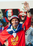 The Russian hockey fan in helmet Royalty Free Stock Photos