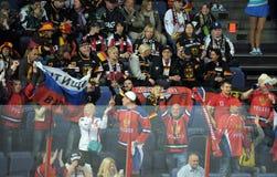 Russian hockey fans. Russian and german ice hockey fans in Helsinki, Hartwall arena Royalty Free Stock Image