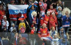 Russian hockey fans. Russian ice hockey fans in Helsinki, Hartwall arena Royalty Free Stock Photos