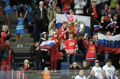 Russian hockey fans. Russian ice hockey fans in Helsinki, Hartwall arena Stock Images