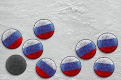 Russian hockey pucks Stock Photos