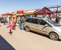 Russian holiday on the waterfront in Pomorie, Bulgaria Stock Images