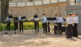 Russian horn orchestra performance in Oranienbaum Royalty Free Stock Photo
