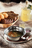 Russian hot soup with bread and home alcohol Royalty Free Stock Photography