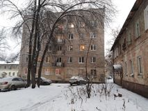 Russian houses/buildings in winter stock images