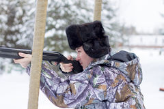Russian hunter. Winter. Royalty Free Stock Images