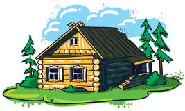 Russian hut. Hand-drawn house (Russian hut Royalty Free Stock Photography
