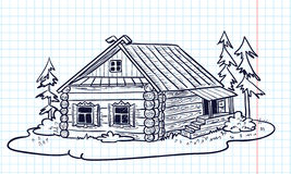 Russian hut. Sketchy hand-drawn house (Russian hut Royalty Free Stock Photo