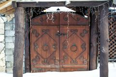 Russian hut in winter stock photo