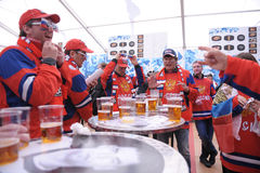 Russian Ice hockey fans. In Helsinki, Hartwall arena Royalty Free Stock Images