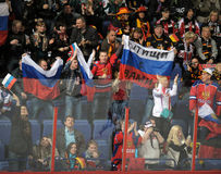 Russian ice hockey fans. Russian ice hockey team suporters before game Royalty Free Stock Photos