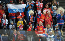 Russian ice hockey fans. Russian ice hockey team suporters before game Royalty Free Stock Photo