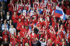 Russian ice hockey fans. Russian ice hockey team suporters before game Royalty Free Stock Images