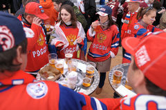 Russian ice hockey fans. Russian ice hockey team suporters before game Stock Photos