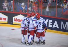 Russian Ice hockey players. Russian national Ice hockey team players cheering for goal in a World ice hockey championship game in Hartwall arena, Finland Stock Photo