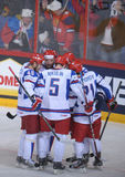 Russian Ice hockey players. Russian national Ice hockey team players cheering for goal in a World ice hockey championship game in Hartwall arena, Finland Stock Image