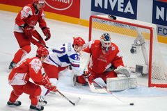 Russian ice hockey team playing againsts denmark Royalty Free Stock Photos
