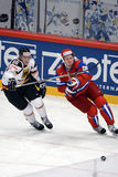 Russian ice hockey team playing againsts germany Royalty Free Stock Photos