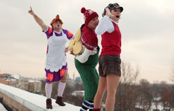 Russian ice skating stars in characters of Karlsson-on-the-roof Royalty Free Stock Images