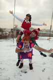 Russian ice skating stars in characters of Karlsson-on-the-roof Stock Photography