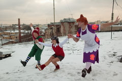 Russian ice skating stars in characters of Karlsson-on-the-roof Stock Images