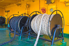 Russian icebreaker. Details deck of the ship. Ropes on large spools. Royalty Free Stock Image