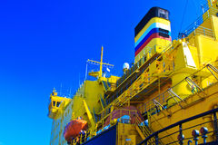 Russian icebreaker. Details deck of the ship. Royalty Free Stock Photography