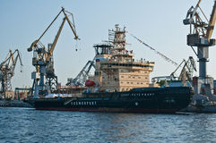 Russian icebreaker Saint Petersburg. Russian ice-breaker Sankt Petersburg being built in a shipyard in Saint Petersburg in Russia Royalty Free Stock Image