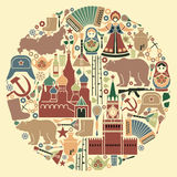 Russian icons in the form of a circle Royalty Free Stock Photos